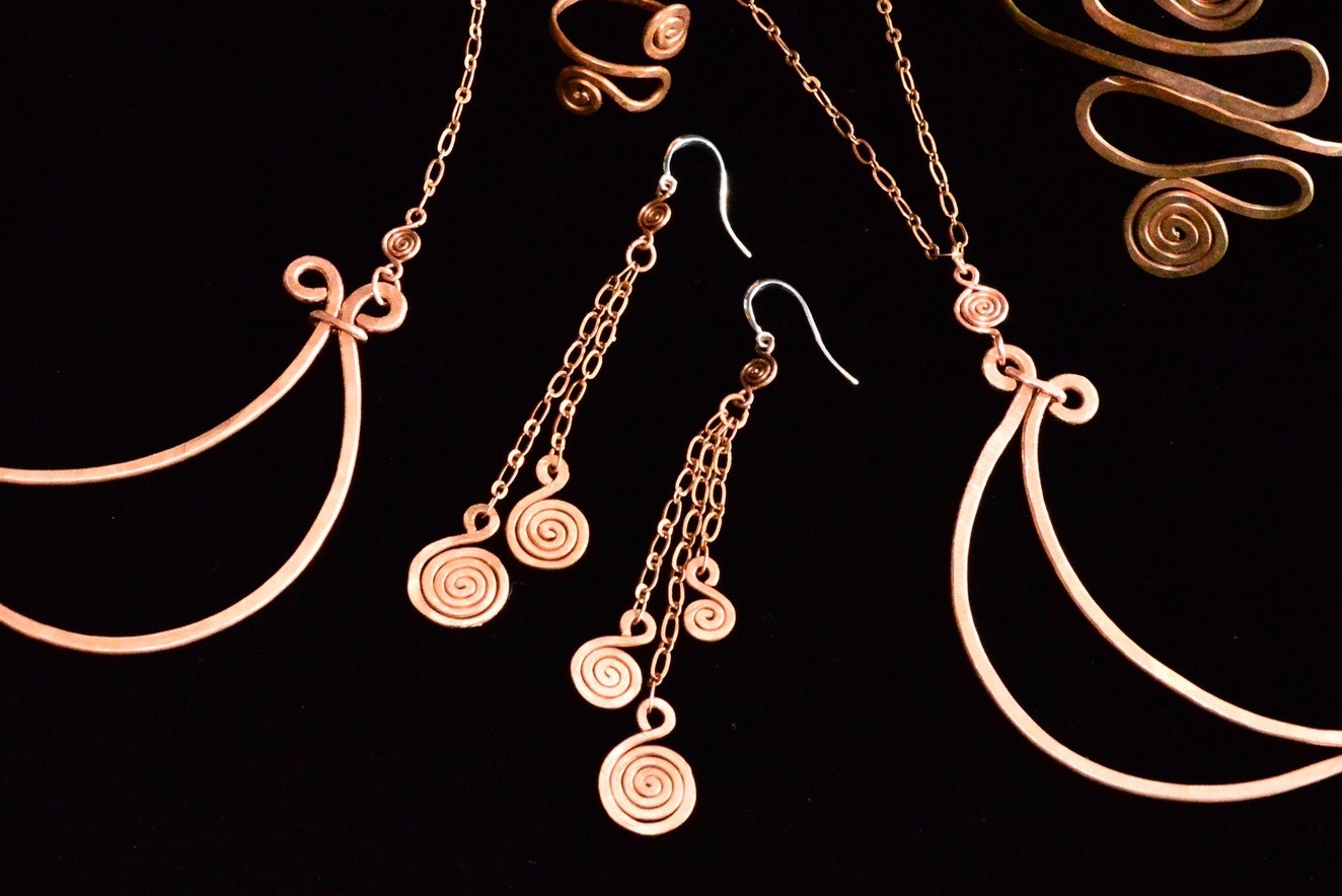 Luna Necklace, Cuff, Ring & Earrings .hand forged upcycled copper (1)