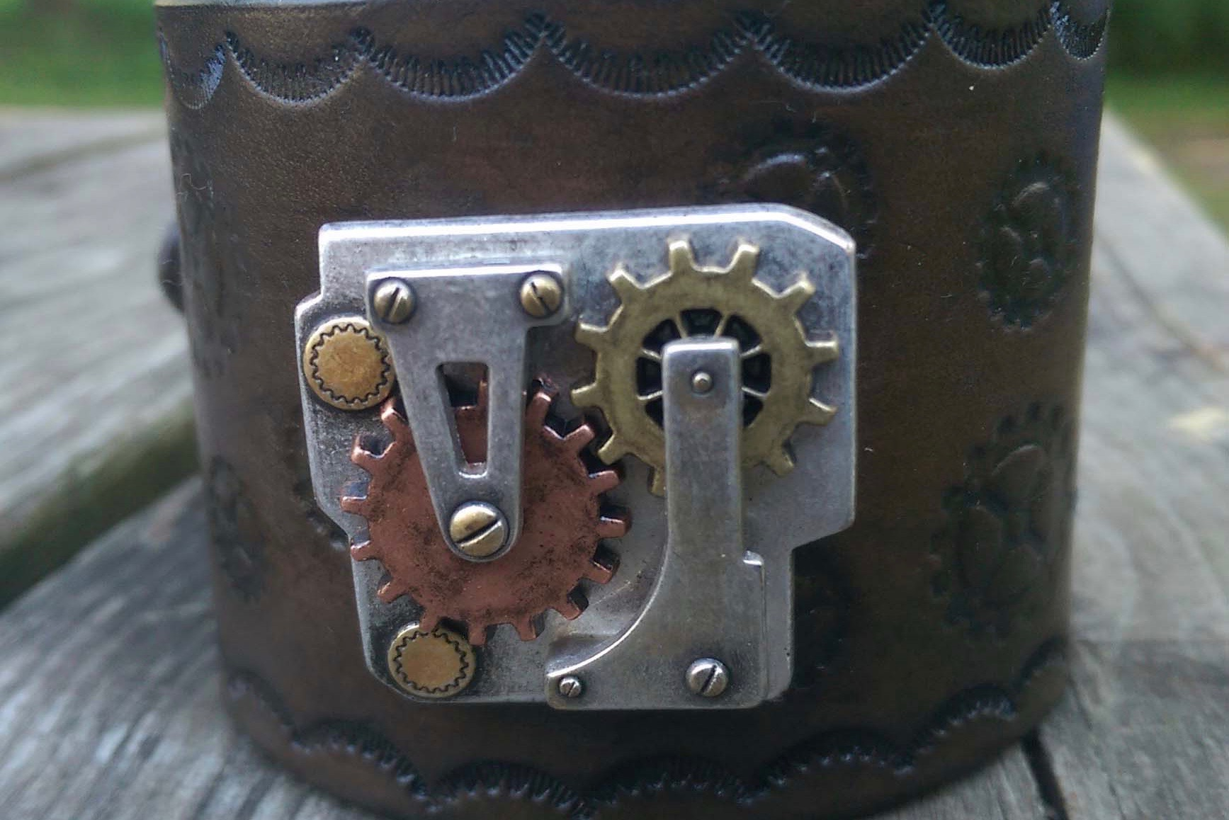 steampunk leather cuff
